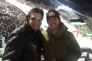 Rusty mit Matthias Walkner beim Nightrace in Schladming